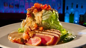 Seared Tuna Wedge! Seared Tuna, Iceberg Lettuce, Avocado, Tomatoes with a Chipotle Blue Cheese Dressing
